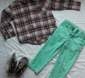 Вещи на мальчика р.104,3-4 года рубашка,чиносы,кед