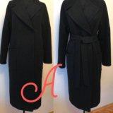 Новое черное пальто ниже колен на запах oversize