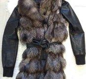 Чернобурка натуральная Жилетка куртка шубка