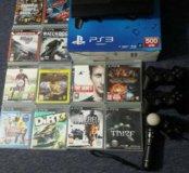 PS3 super slim 500гб + 2 джойстика + муви +10 игр