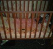 Кровать детей орех,с ортопедическим матрасом