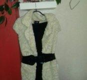 Платье с меховым жилетом