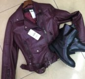 Новая куртка косуха цвета марсала бордовая матовая