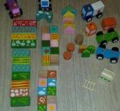 Деревянные кубики и машинки разборные