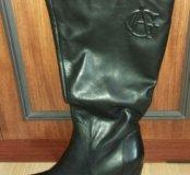 Сапоги новые кожаные на широкую ногу