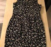 Платье чёрное в белый горох на 44-ый размер