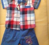 Комплект для мальчика (рубашка, бабочка, шорты)