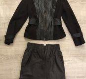 Шерстяной костюм с кожаной юбкой