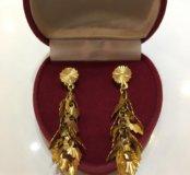 Серьги-гвоздики арабское золото
