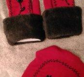 Набор шапка варежки