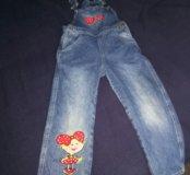 Комбинезон джинсовый на девочку, р110