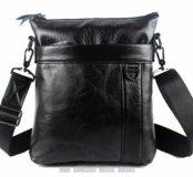 Мужская кожаная сумка на плечо планшет барсетка