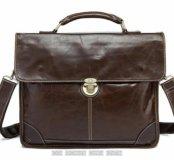 Мужской кожаный портфель сумка для ноутбука ручкой