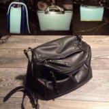 Женская сумка чёрная бирюзовая через плечо новая