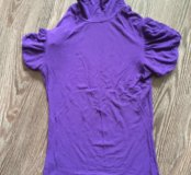 Водолазка с коротким рукавом фиолетовая