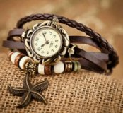 Часики с морской звездочкой коричневые