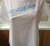 Блузка с вышивкой на лето, р 50-52