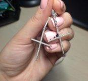 Серьги кресты серебро 925