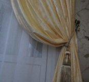 Новые шторы 2 полотна густой бархат крем Турция