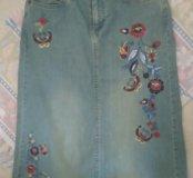Джинсовая юбка Naf naf с вышивкой р.44