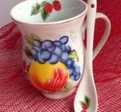 Чайная кружка, чашка с ложечкой в комплекте