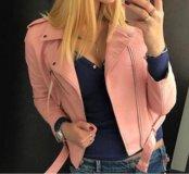 Куртка косуха экокожа кожзам розовая