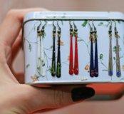 Новые серьги ручной работы разные цвета