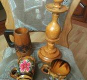 Подсвечник и деревянные чашки