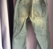 Хлопковые штаны HM с эффектом потертых джинс