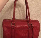 Красная сумка Dkny оригинал натуральная кожа