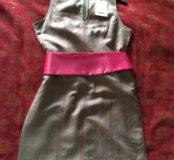 Платье Paul Brial р.48 лён с атласным поясом. ново