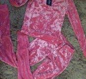 Модный велюровый костюм, ярко-розовый, новый