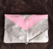 Сумочка конверт серебро/розовый