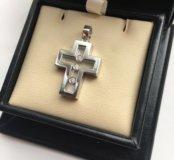 Новый золотой крест 585 пр. 5.84 гр. с бр. 0.09 ct