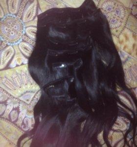 Натуральные волосы на заколках ( 9 прядей,50-53см)