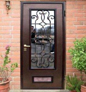 Стальная дверь со стеклопакетом