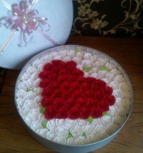 Цветы ручной работы,шкатулки,подарки для женщин