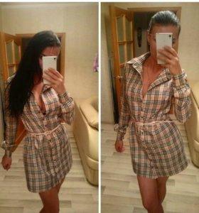 Платье рубашка,клетка барбери