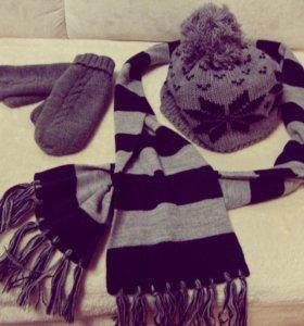 Зимний комплект (шапка+шарф+варежки)