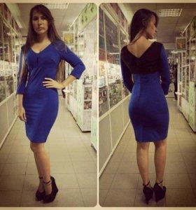 Платье трикотаж,  синее