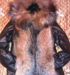 Кожаная куртка с мехом лисы (жилетка трансформер)