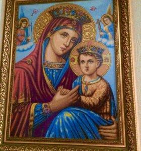 Икона Божьей Матери (вышивка)