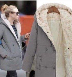 Куртка новая серая весна-осень с мехом.