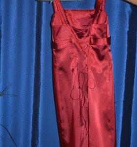 Платье атласное с  накидкой