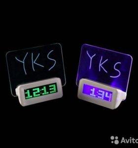 Часы будильник с подсветкой и доской для записей