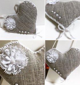 Сердечко, валентинка, текстиль, размер 13,5х10,5