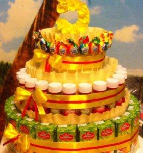 изготовление тортов из соков и конфет