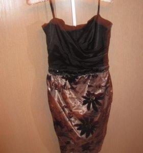 Новое приталенное золотистое платье