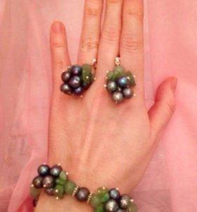 Комплект браслет и серьги из натурального жемчуга