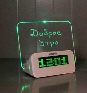 Светящийся LED будильник с доской для записи